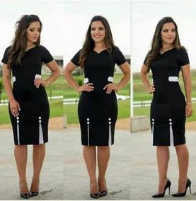 Vestido Midi Paola Moda Evangelica Gospel Cristã Preto 2019