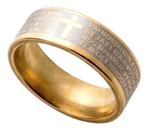 Anel Aliança Cruz Folheada Oração Pai Nosso Dourado Tamanho
