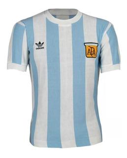 Camisa Retrô Da Argentina adidas Listrada - 1980.