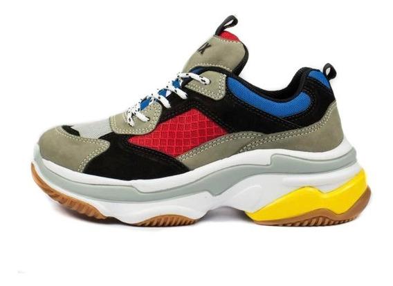 Tênis Qix Higher 18 Daddy Shoes Azul/vermelho/amarelo