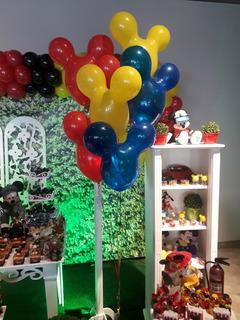 6 Balões Rosto Do Mickey Latex - Qualatex - 16 Polegadas