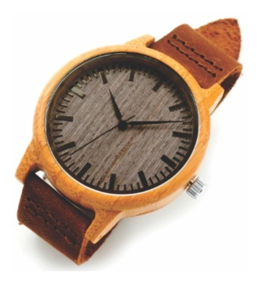 Relógio Unissex Bambu Madeira Grátis Um Lindo Anel De Prata