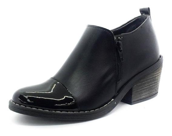 Zapato Bota Botitas Charritos Taco Doble Cierre Texana Negro