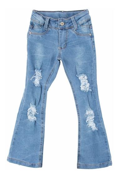 Calça Jeans Flare Rasgos Infanto Juvenil Meninas Tam 4 Ao 16