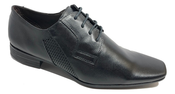 Sapato Social Calvest Couro Tradicional Cadarço Masculino -