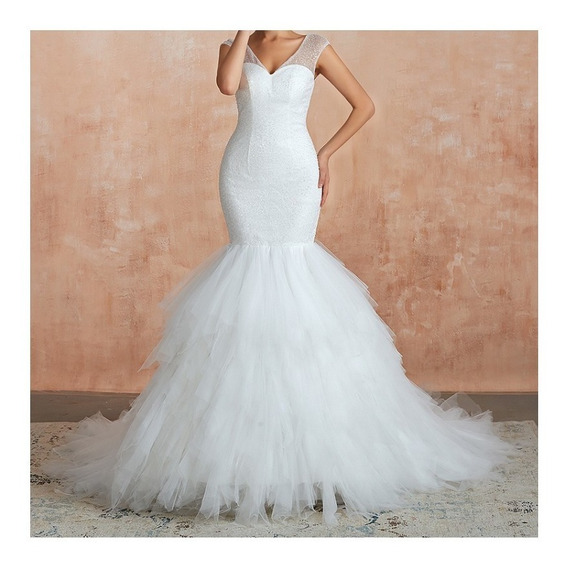 Vestido Hermoso Boda Blanco Novia Encaje Ivory Princesa