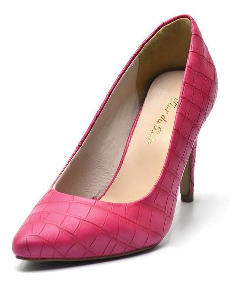 Sapato Scarpin Salto Alto Fino Em Napa Croco Rosa Pink