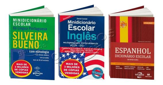 Kit 3 Dicionário Inglês Espanhol Português Silveira Bueno