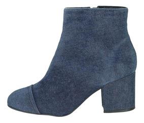 Bota Cano Curto Jeans Valentina