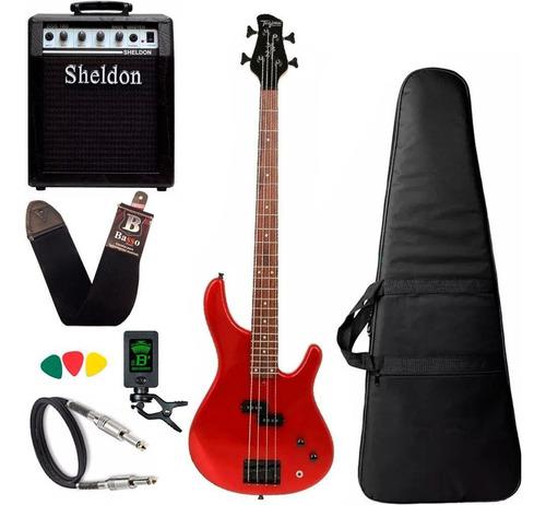Kit Baixo Tagima Xb21 Laranja Cubo Amplificador Sheldon