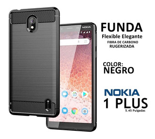 Funda Flexible Elegante Fibra De Carbono Nokia 1 Plus Rosari