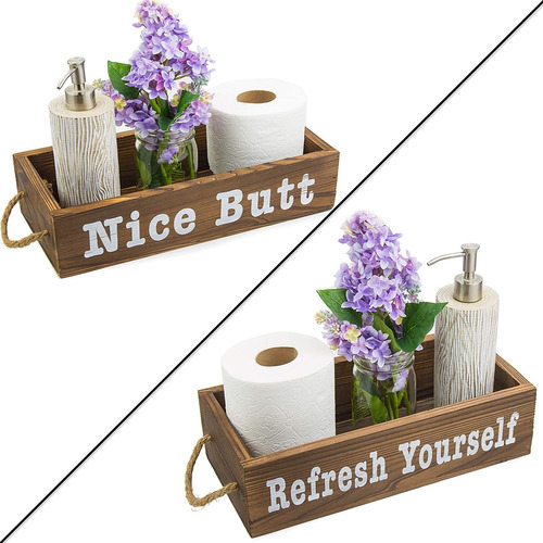 Vero Home Goods Caja De Decoracion Para Baño, 2 Lados, Caj