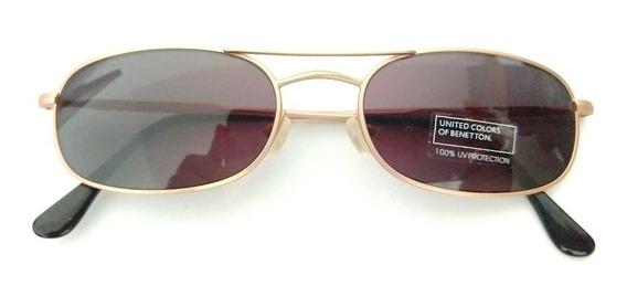Oculos De Sol Raro Decada 80 Benetton Pequeno Dourado Novo