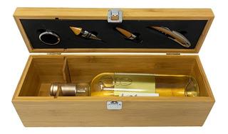 Caja Estuche De Bambú Para Botella De Vino + 4 Accesorios