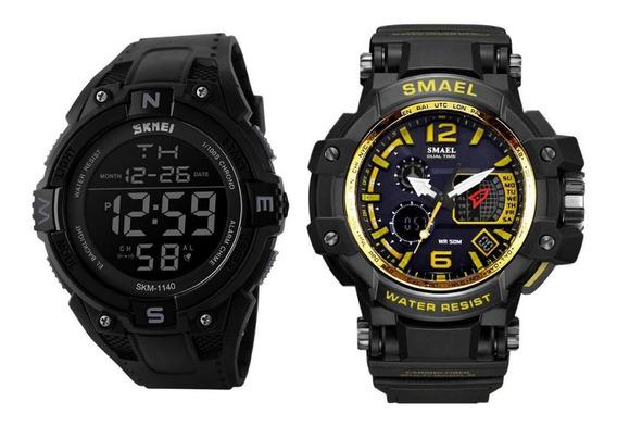 2 Relógios Masculino 1 S-shock Smael 1509 + 1 Skmei 1140