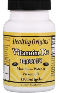 Vitamina D3 10000ui 120caps Healthy Origins Importada E U A