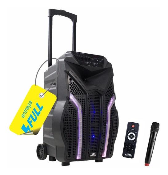 Caixa De Som Amplificada Bluetooth 200w Rms Fortress Bateria + Microfone +led