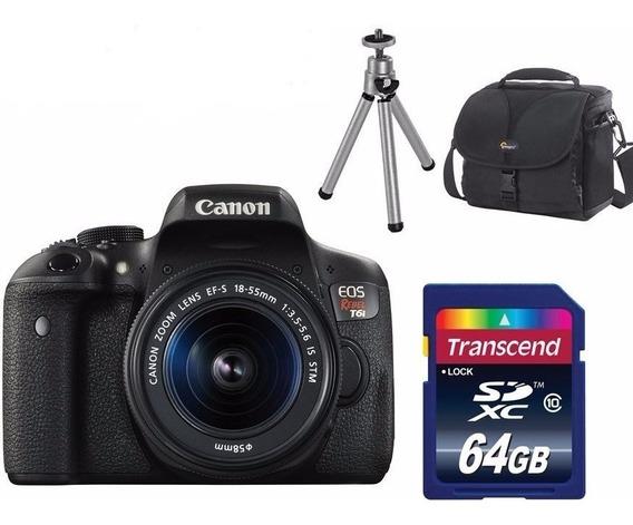 Câmera Canon Rebel T6i C/ 18-55mm + 64gb + Bolsa + Tripé