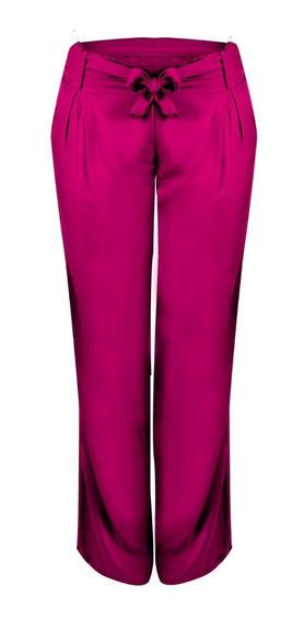 Calça Pantalona De Viscose Com Bolsos (17002)