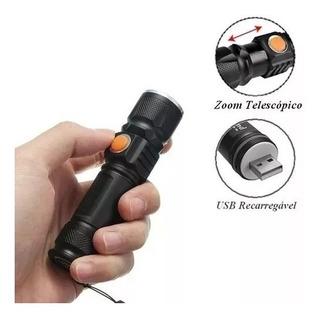Kit 5 Mini Lanterna Usb Potente Led T6 Recarregável