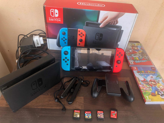 Nintendo Switch + 4 Jogos Mídia Física Usado + Acessórios