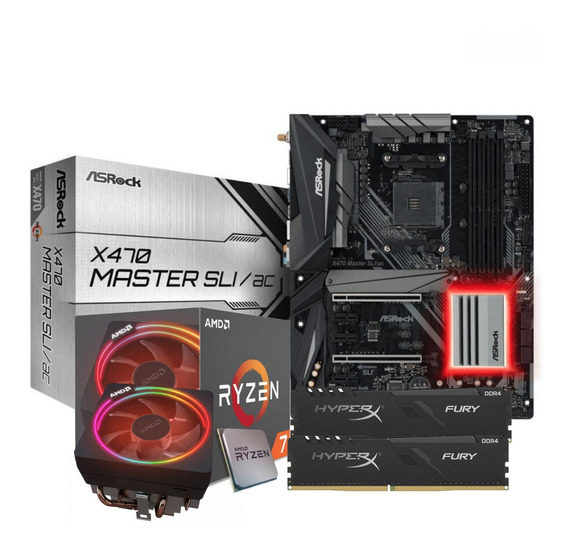 Kit Processador Ryzen 7 2700x Asrock X470-sli 2x8gb Hx Fury