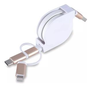 Cable Usb 3 En 1 Retractil Cargador Celular Smartphone 1m