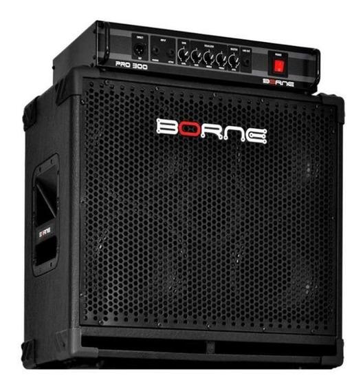 Kit Borne Pro300 Cabeçote E Caixa 4 Falantes 8 Pro408 Baixo