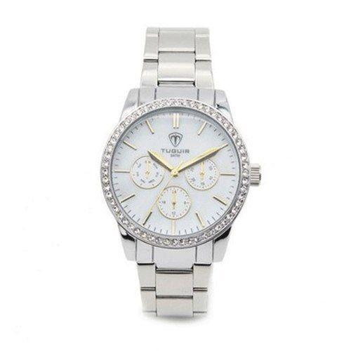 Relógio Feminino Tuguir Analógico 5028 Prata Com Strass Moda