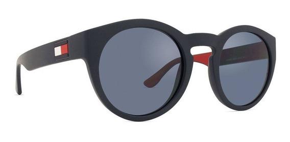 Óculos De Sol Unissex Preto Tommy Hilfiger Redondo