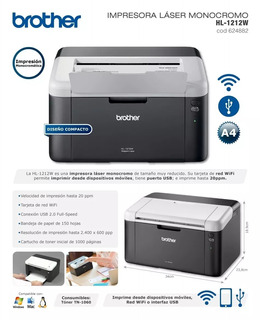 Impresora Brother Laser Hl 1212w Wifi Cuotas