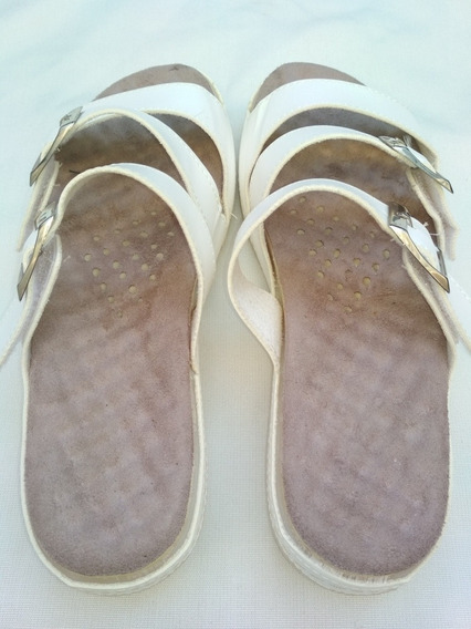 Sandalias Mujer Blanca Talle 40 Plantilla 25 Cm