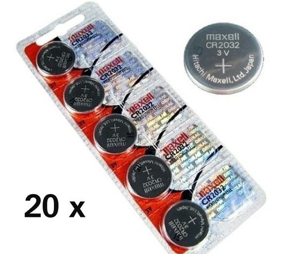 Kit 20 Baterias Cr 2032 Maxell Placa Mãe Relógio Alarmes