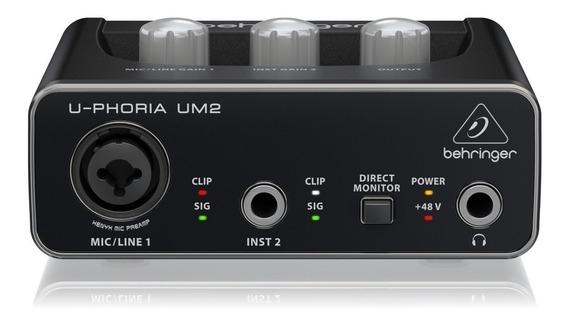 Interface De Áudio Usb U-phoria Um2 Behringer De 48 Khz