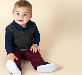 Conjunto Malwee Masculino Bebê Calça, Camisa Polo E Colete