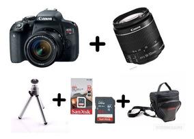 Câmera Canon Rebel T7i C/ 18-55mm Is Stm+ 64gb+ Bolsa+ Tripé