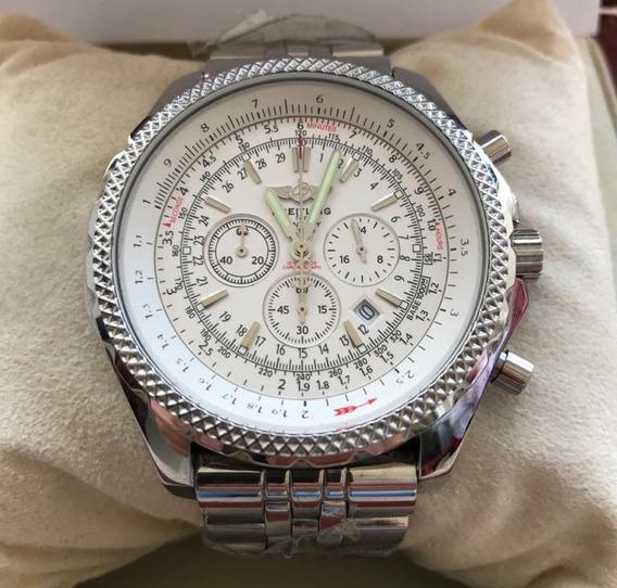 Relógio Masculino Breitling De Aço Mostrador Branco