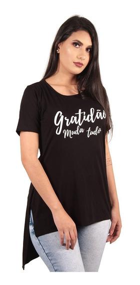 Kit 10 Camisetas Blusa Long Line Feminina Estampadas Atacado