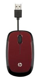 Mouse Otico Usb Hp X1250 Vermelho Retratil
