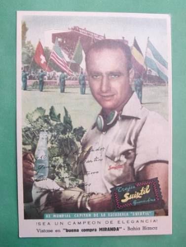 1950 Tarjeta Postal Con Publicidad Suixtil J. Manuel Fangio