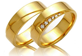 Alianças Ouro 18k 10 Gramas 6mm Brilhantes Casamento Noivado