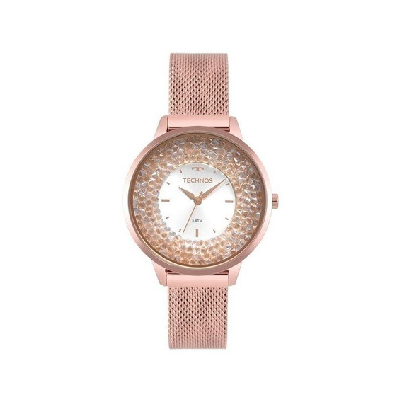 Relógio Technos Feminino Crystal Rosê 2035mqb/5k