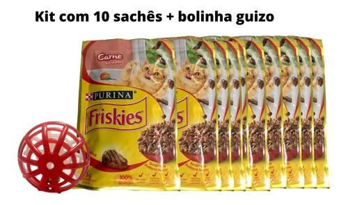 Imagem 1 de 5 de Kit Gatinho Feliz 10 Sachês Friskies Carne E Bolinha Guizo
