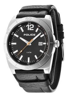 Reloj Police Hombre Cuero Negro 50 Mts Pl.14107js/02 +envio