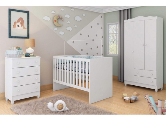 Quarto De Bebê Completo Guarda Roupa 3 Portas, Gf