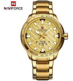 Relógio Masculino Dourado Militar Naviforce A Prova D
