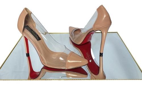 Imagem 1 de 1 de Scarpin Sapato Nude Transparente Salto Alto