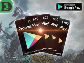 Tarjetas Google Play Store, Gift Card.