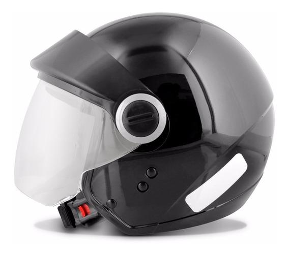 Capacete Moto Aberto Ebf Shield Com Viseira 56 58 60 Preto