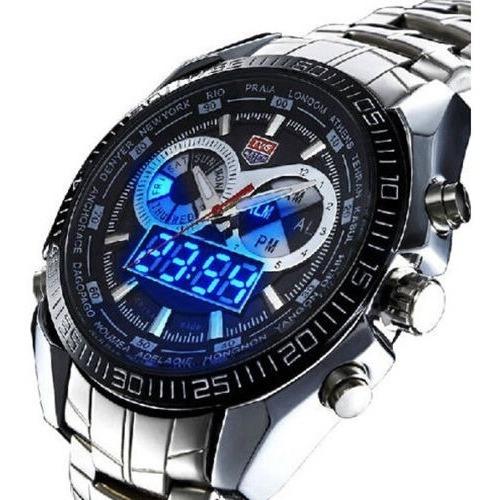 Relógio Masculino De Pulso Quartzo Aço Tvg De Azul Digital